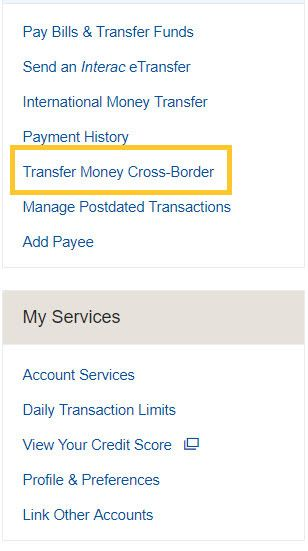 From the Account Summary page select Transfer Money Cross-Border on the right-hand sidebar