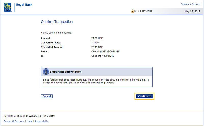 Review your transfer details and confirm by clicking Confirm