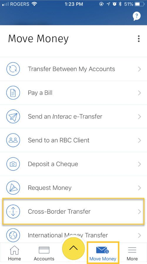 From the Move Money Menu select Cross-Border Transfer