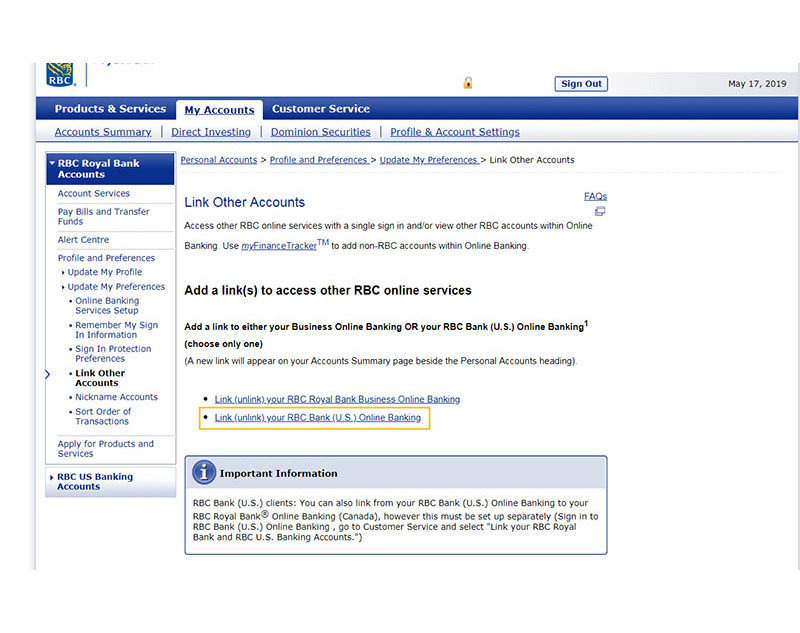Select Link (unlink) your RBC Bank (U.S.) Online Banking