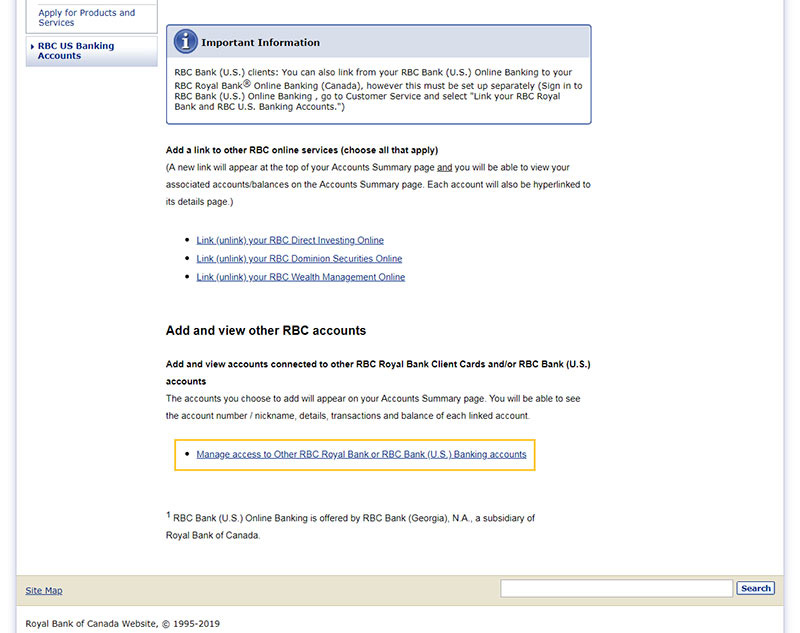 Near the bottom of the page, click Manage Access to Other RBC Royal Bank or RBC Bank (U.S.) Banking accounts