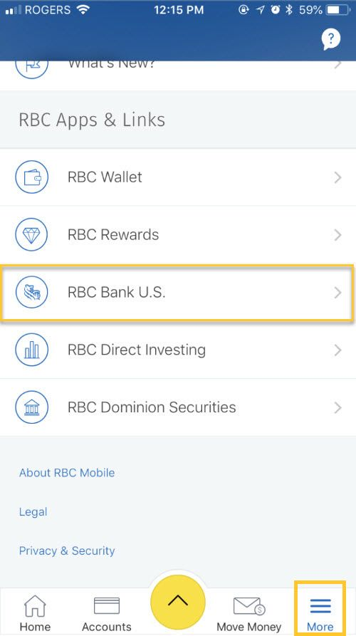 From the More menu, select RBC Apps and Links, and then RBC Bank U.S.