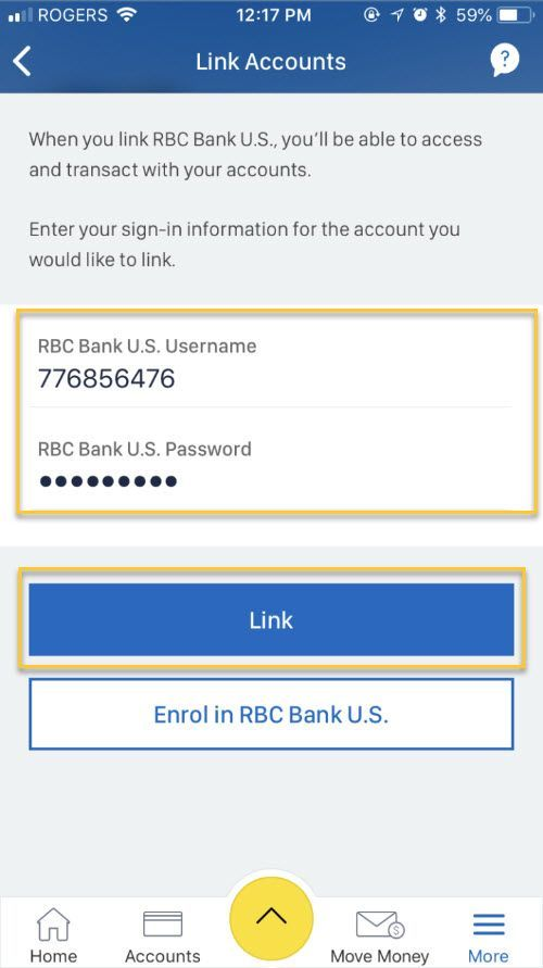 Enter your U.S. Online Banking username and password, and hit Link